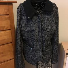 "gap tweed moto jacket Dark grey tweed style. Zip up in front. Great zipper pockets also in front. Perfect style for casual or professional. True to size. ❌no trades or Paypal Quick shipping Offers welcome through ""make an offer"" feature GAP Jackets & Coats"