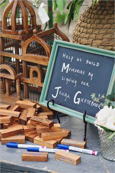 Jenga guest book sig