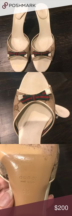 Gucci shoes! Really great condition! Only worn a couple of times. I posted pics of a scuff on the back of one heal and some minor marks that can easily be fixed/cleaned. These shoes are a size 9. Gucci Shoes Sandals