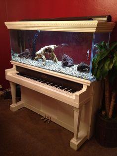 Piano Upcycled Into Aquarium Recycled piano aquarium. If I could find an old piano, I'd put this in my future music room. If I could find an old piano, I'd put this in my future music room. Aquarium Design, Aquarium Diy, Aquarium Setup, Aquarium Fish Tank, Aquarium Ideas, Aquarium Decorations, The Piano, Support Pour Aquarium, Aquarium Original