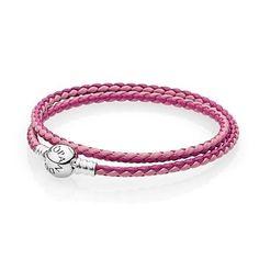 9d5e9bf0e Pandora silver 925 590747cpmx-d1 mixed pink double leather bracelet 13.8