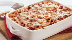 Enjoy the pizza flavor in this cheesy casserole packed with pork sausages, pepperoni and spaghetti – perfect for tasty dinner.