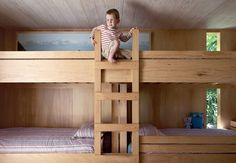 """I'm in love with these bunk beds. They are just like the ones in my grandparent's old """"cottage"""" house."""