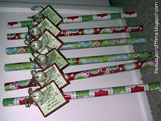 """Cute neighbor gift idea! It's wrapping paper & tape, and the tag reads """"Since November you've been shopping, barely sleeping, hardly stopping. Now it's late, you're in a scrape, out of paper or out of tape. Hope this wrap helps save the day! Have a Happy Holiday!"""