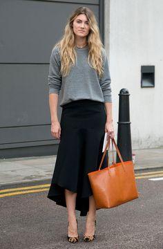 midi skirt grey sweater street style