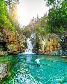 This Stunning Waterfall And Swimming Hole In BC Is The Ultimate Summer Hangout Spot - Narcity Beautiful Places To Visit, Cool Places To Visit, Places To Travel, Travel Diys, Bastille, Vancouver Travel, Vancouver Island, Vancouver British Columbia, Hostels