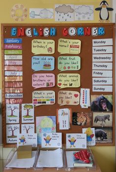 Pretty English corner, should be in every classroom. Of course also . - Pretty English corner, should be in every classroom. Of course also possible with other subjects - English Games, English Resources, English Activities, English Lessons, English Day, Learn English, English Primary School, English Classroom Decor, Teaching English Grammar
