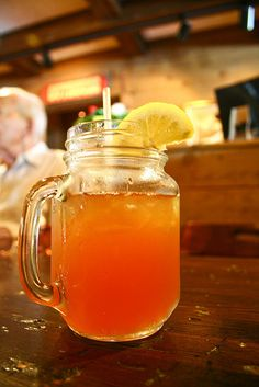 Arnold Palmer Iced Tea. Half sweet tea/half lemonade.  In chicago, they think this stuff is the best thing since sliced bread. Every restaurant we visited, they offered Arnold Palmer!