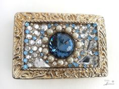 Bling belt buckle, Women's, Blue, Swarovski crystal, Pearl, Vintage rhinestones, Gold buckle, Free shipping
