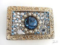Bling belt buckle, Women's, Blue, Swarovski crystal, Pearl, Vintage rhinestones, Gold buckle, Free shipping