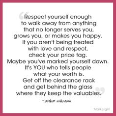 "...helps you grow...NOT ""grows you"". No one can make you feel inferior without your consent. Really."