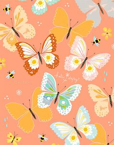 Flutter     vertical print by thewheatfield on Etsy