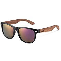 8fa3ccb964 AMEXI Gafas de Sol Polarizadas Hombre y Mujere UV400 Protection Gafas  Ligeras con Patillas de Madera
