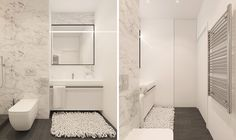 The bathroom uses the LED-lighting theme to its advantage, making speckled marble shiny white. Crossing through unexpected borders, it matches with a grey shagpile before contrasting with simple white porcelain. Dark wooden flooring and chrome towel railing tie in the rest.