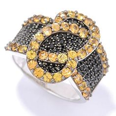 Gem Treasures Sterling Silver 2.80ctw Yellow Sapphire & Spinel Overlap Swirl Ring