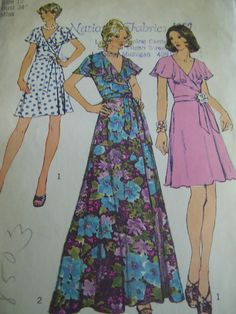 Vintage 1970s Simplicity 6099 Frontwrap Dress by TheLastPixie, $5.00