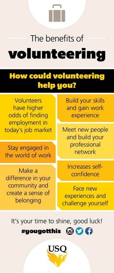 The benefits of volunteering. These are especially important to college students!