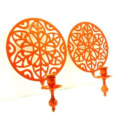 bohemian wall sconces  //  tangerine orange home decor, upcycled metal, victorian regency candle holders, wall hangings.