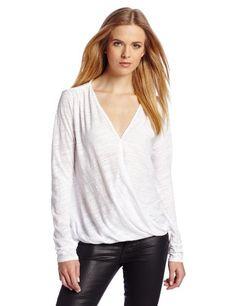 VELVET BY GRAHAM & SPENCER Women's Jeanne Texture Knit Draped Surplice Top, White, Medium