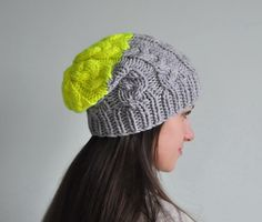 Neon Yellow Cable Knit Beanie Hat Chunky Knit Hat by SOVAknits, $35.00