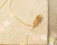 Feder Charm Halskette Schmuck Gold Feder Beste von LimonBijoux
