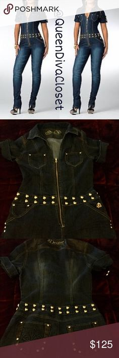 Dark denim jean gold studded jumpsuit romper M 7/8 This fabulous jumpsuit from Beyonce's Dereon line is an absolute must have! Features stretch denim, studded waistline, cuffed short sleeves, zipper hem. Gently used. Please note that the original zipper was replaced with a more sturdy/ heavy duty zipper. Get this rare gem while you can! Juniors M will fit up to a 7/8. Dereon Pants Jumpsuits & Rompers