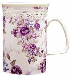 Hrníček na kávu * bílý porcelán malovaný fialovými růžemi.