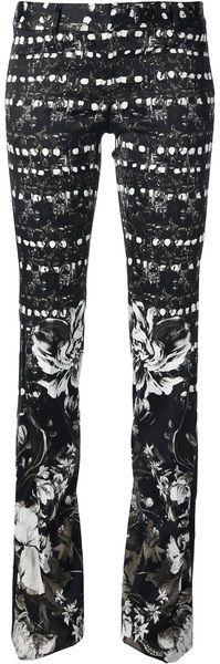 ROBERTO CAVALLI Black Printed Skinny Trouser  - Lyst