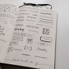 Bullet Journal Inspiration - ideas and inspiration for headers, fonts, dividers for collections and dailies.