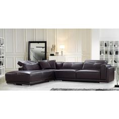 Divani Casa 7395 Modern Beige and Light Brown Leather Sectional ...