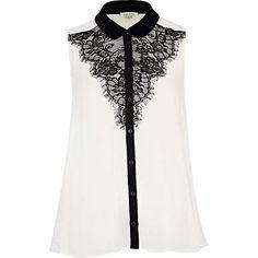 cream victoriana sleeveless shirt - shirts - blouses / shirts - women - River Island