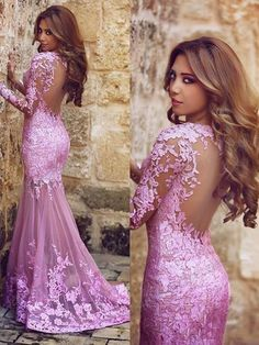 Mermaid V-neck Lilac Tulle Appliques Lace Long Sleeve Prom Dress, Long Prom Dresses,Floor Length Prom Dresses