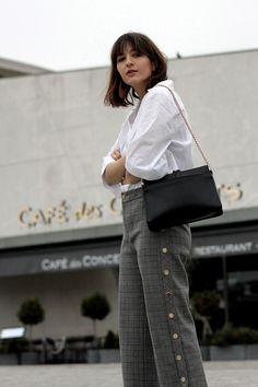 My Paris Streetstyle: Acne Studios Blouse, APC Bag Ella, Checked Culotte with golden buttons and Statement Earrings.