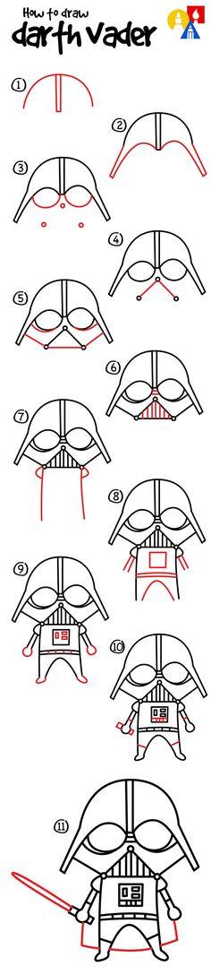 How to draw a cartoon Darth Vader #DarthVader