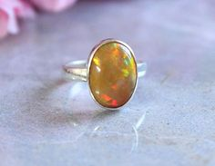 Ethiopian opal ring  Natural Opal Ring  Gemstone by Studio1980, $175.00
