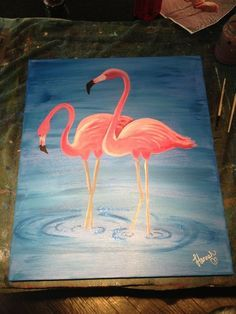 Pink Flamingo Easy-Acrylic-Canvas-Painting-Ideas-for-Beginners