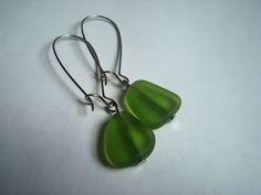 Green Sea Glass earrings Cultured sea glass by MicheladasMusings, $7.00