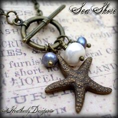 SEASHORE Brass Starfish and Pearl Necklace by HeatherlyDesigns
