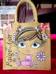 Glitterglamz Baby Toddler Personalised Hand Painted Jute Bag Cute Gift Bags Name