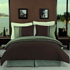 Hotel Style Greek Brown Chocolate/Sage Green Microfiber Duvet Cover Set King #bed linens