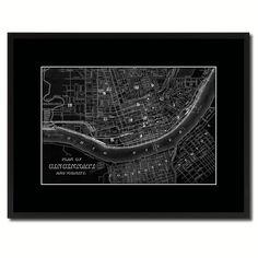 cincinnati vintage monochrome map canvas print gifts picture frames home decor wall art - Home Decor Cincinnati