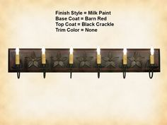 Irvins 4-arm Wooden Vanity Mirror Wall Light in Hartford Black with Red Stripe