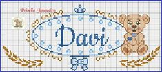 Davi ponto cruz Cross Stitch Alphabet, Cross Stitch Embroidery, Rest, Plastic Canvas, Applique, Projects To Try, Bullet Journal, Kids Rugs, Facebook