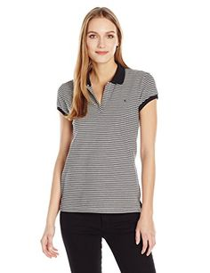 5e76bcfaed2d Calvin Klein Jeans Women's Short Sleeve Stripe Pique Polo Shirt,  Marshmallow, X-SMALL at Amazon Women's Clothing store: