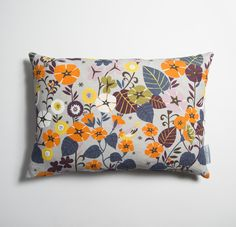 Large rectangular cushion in our grey floral bird print Nasturtium, designed by Brie Harrison. Cushion Fabric, Cushion Pads, Bird Prints, Floral Prints, Floral Patterns, Parker Knoll Chair, Scatter Cushions, Throw Pillows, Winter Moon