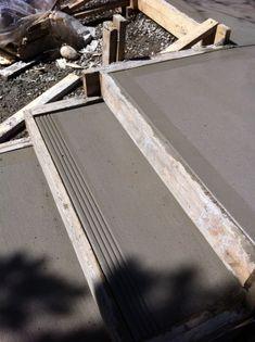Broom finish concrete step with 4 grooved edge. By Dan forsythe Concrete Patio Designs, Concrete Stairs, Concrete Driveways, Concrete Projects, Landscape Stairs, Landscape Design, Driveway Design, Path Design, Design Ideas