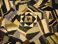 Large antique crazy quilt with fascinating design work of art