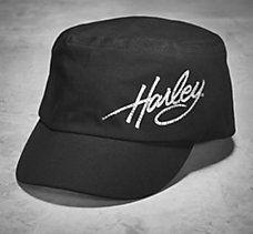 Crystal Harley Flat Top Cap