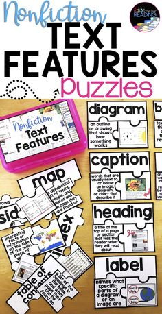 Nonfiction Text Features Puzzles are a fun nonfiction text features activity for your kids! Great for an early finisher activity, reading center, independent reading, guided reading, and more! Reading Lessons, Teaching Reading, Guided Reading, Reading Strategies, Teaching Spanish, Reading Comprehension, Fun Reading Games, Reading Club, Reading Activities