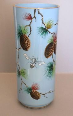 Blue Bristol Glass Vase with Pine Cones and Bugs Ruby Lane